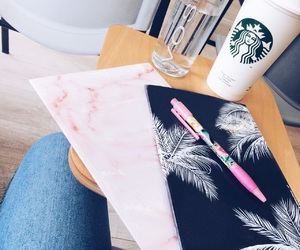 marble, notebook, and palm trees image