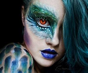 makeup, art, and dragon image