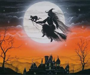 witch, art, and black cat image