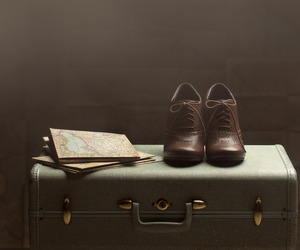 suitcase, vintage, and shoes image