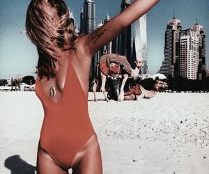 beach, bikini, and camel image