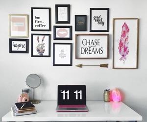 desk, quotes, and interior design image