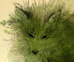 art, fox, and green image
