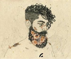 art, flowers, and beard image