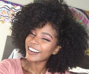 natural hair, smile, and curly girl image