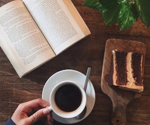 book, cafe, and cake image