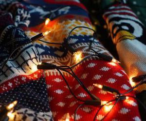 lights, christmas, and sweater image