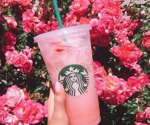 coffee, pink, and starbucks image