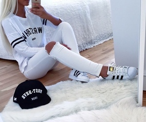 white, fashion, and adidas image