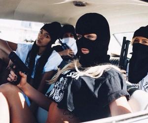 gun, bad girls, and black image