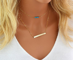 etsy, turquoise necklace, and delicate gold image