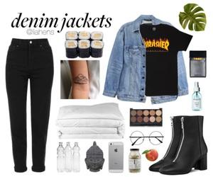denim jacket, fashion, and Polyvore image