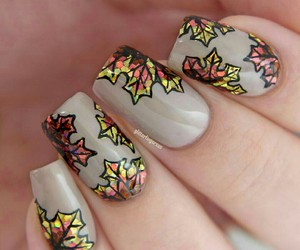 nails, leaves, and fall image