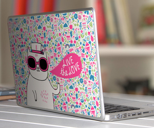 laptop, cat, and pink image