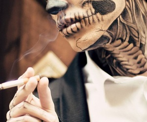 boy, smoke, and skull image