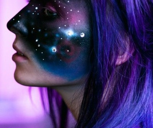 galaxy, makeup, and purple image