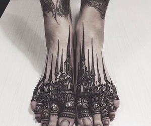 black, castle, and feet image