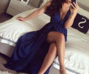 blue, party dress, and prom dress image