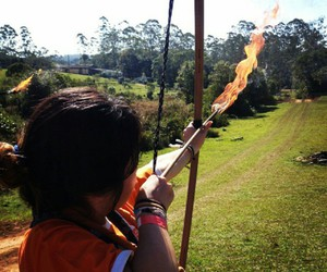 archery, fire, and girl image