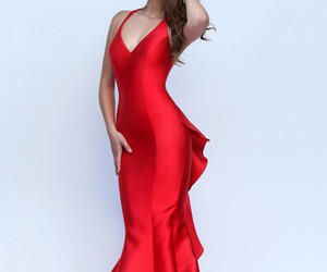red, party dress, and prom dress image