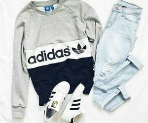 adidas, outfit, and jeans image