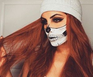 Black Eyeliner, white tank top, and skeleton makeup image