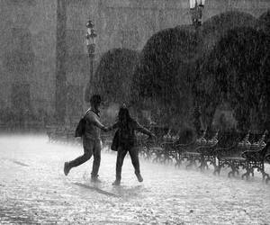 rain and black and white image