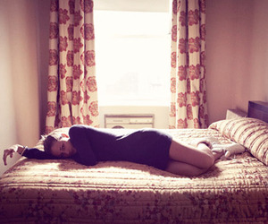 bed, girl, and sunlight image