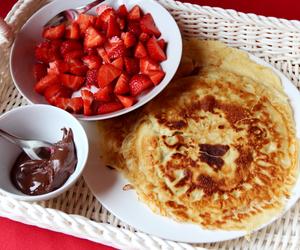 food, pancakes, and strawberries image