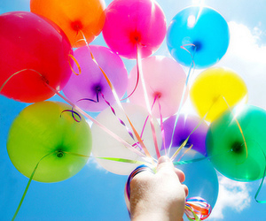 balloons, sky, and colorful image
