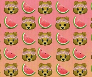 bear, watermelon, and wallpaper image