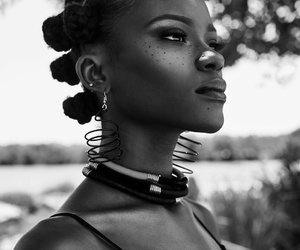 beautiful, black and white, and black girl image