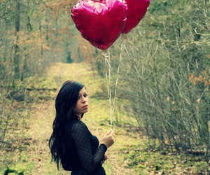 black hair, forest, and hearts image