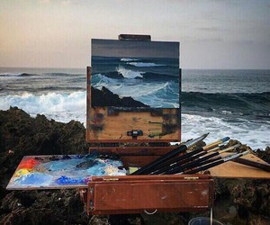 art, sea, and ocean image
