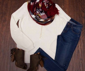 boots, scarf, and sweater image