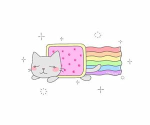 cat, pastel, and rainbow image