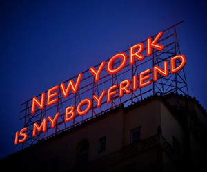 city, neon, and new york image