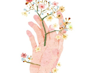 art, flowers, and hand image