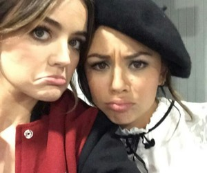 lucy hale, pretty little liars, and janel parrish image