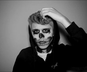 black and white, Halloween, and makeup image