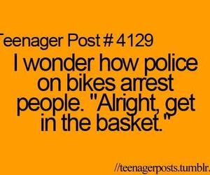 funny, police, and bike image