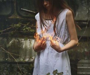 fire and girl image