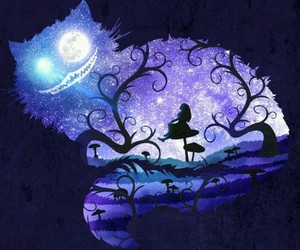 alice, cat, and wonderland image