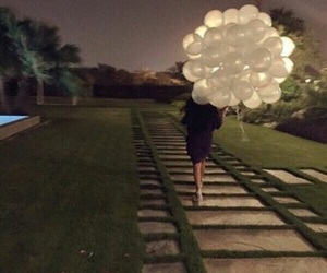 girl, balloons, and night image