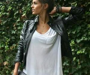 black jacket, jeans rotos, and white tahirt image