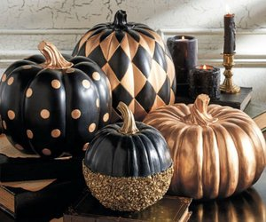 black, gold, and Halloween image