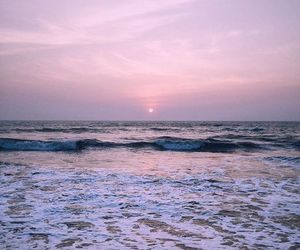 ocean, sun, and pink image