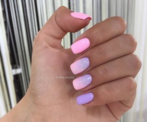 pink, nails, and purple image