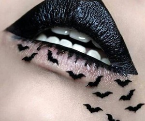 lips, black, and makeup image