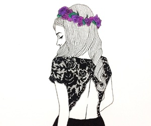 art, fashion, and flower crown image